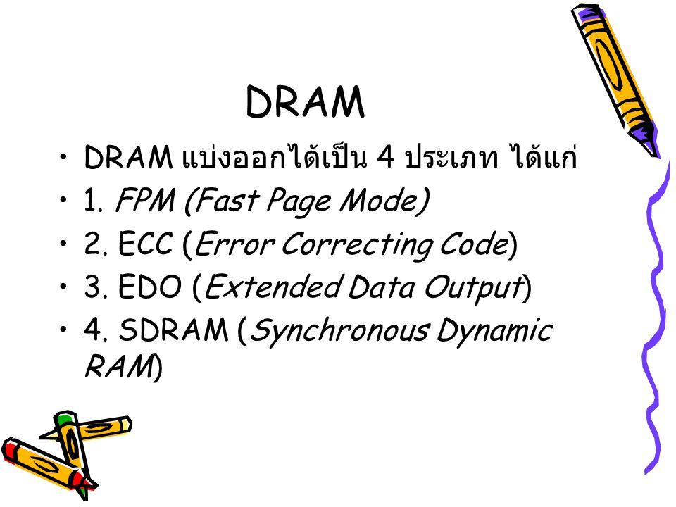 DRAM DRAM แบ่งออกได้เป็น 4 ประเภท ได้แก่ 1. FPM (Fast Page Mode) 2. ECC (Error Correcting Code) 3. EDO (Extended Data Output) 4. SDRAM (Synchronous Dy