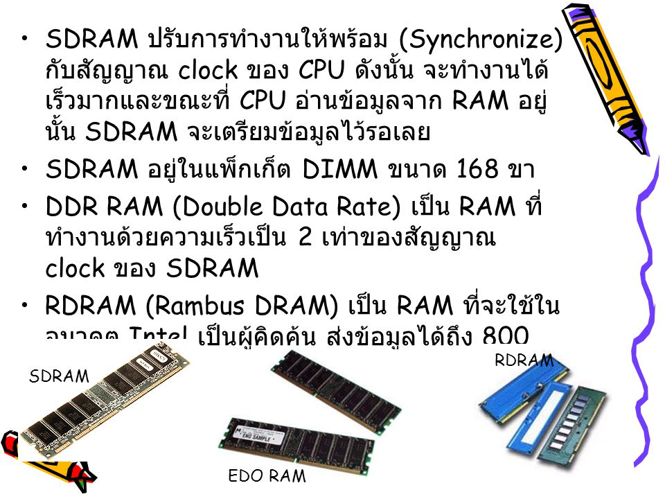 SDRAM ปรับการทำงานให้พร้อม (Synchronize) กับสัญญาณ clock ของ CPU ดังนั้น จะทำงานได้ เร็วมากและขณะที่ CPU อ่านข้อมูลจาก RAM อยู่ นั้น SDRAM จะเตรียมข้อ