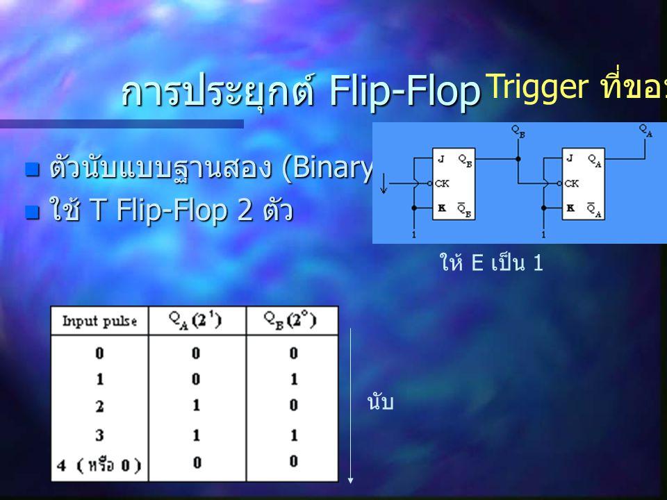 การประยุกต์ Flip-Flop ตัวนับแบบฐานสอง (Binary Counter) ตัวนับแบบฐานสอง (Binary Counter) ใช้ T Flip-Flop 2 ตัว ใช้ T Flip-Flop 2 ตัว Trigger ที่ขอบขาลง