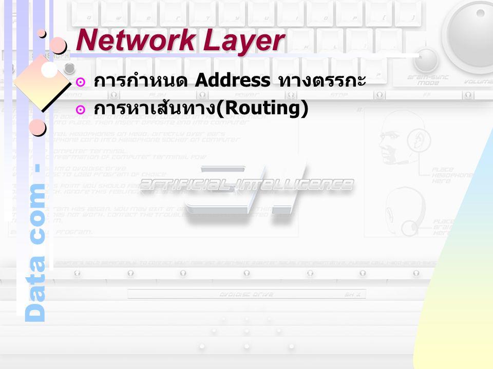Data com - Network Layer ๏การกำหนด Address ทางตรรกะ ๏การหาเส้นทาง (Routing)