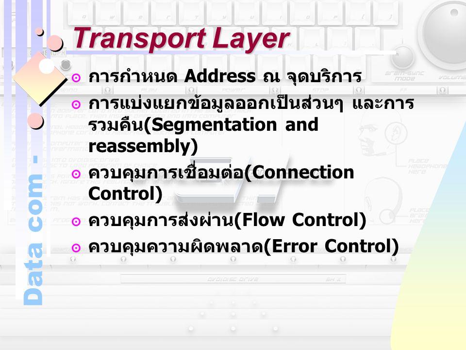 Data com - Transport Layer ๏การกำหนด Address ณ จุดบริการ ๏การแบ่งแยกข้อมูลออกเป็นส่วนๆ และการ รวมคืน (Segmentation and reassembly) ๏ควบคุมการเชื่อมต่อ
