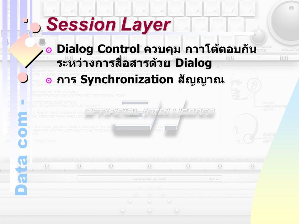 Data com - Session Layer ๏ Dialog Control ควบคุม กาาโต้ตอบกัน ระหว่างการสื่อสารด้วย Dialog ๏การ Synchronization สัญญาณ