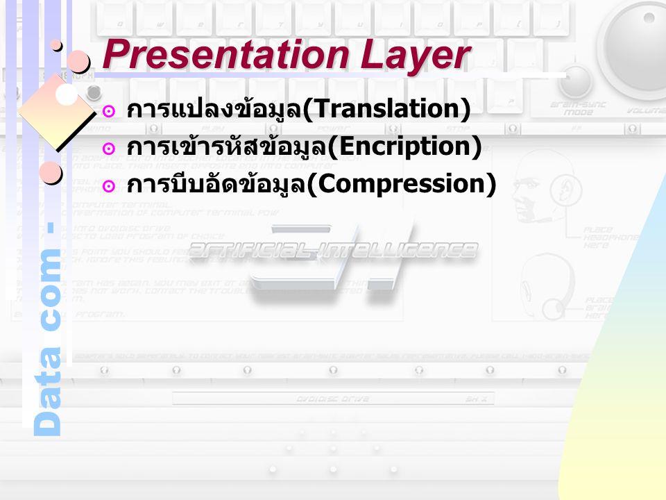 Data com - Presentation Layer ๏การแปลงข้อมูล (Translation) ๏การเข้ารหัสข้อมูล (Encription) ๏การบีบอัดข้อมูล (Compression)