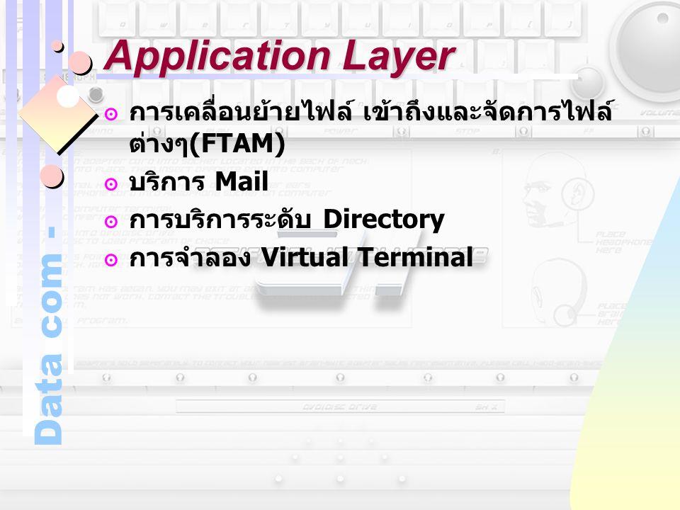 Data com - Application Layer ๏การเคลื่อนย้ายไฟล์ เข้าถึงและจัดการไฟล์ ต่างๆ (FTAM) ๏บริการ Mail ๏การบริการระดับ Directory ๏การจำลอง Virtual Terminal