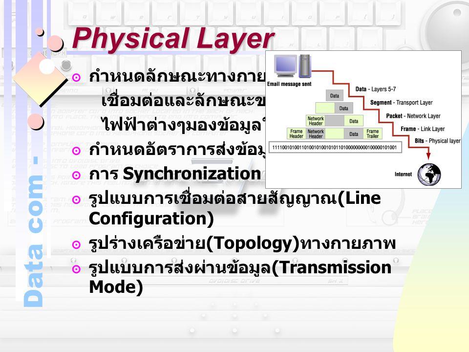 Data com - Physical Layer ๏กำหนดลักษณะทางกายภาพของการ เชื่อมต่อและลักษณะของสื่อ กลไกทาง ไฟฟ้าต่างๆมองข้อมูลในระดับบิต ๏กำหนดอัตราการส่งข้อมูล (Data Ra