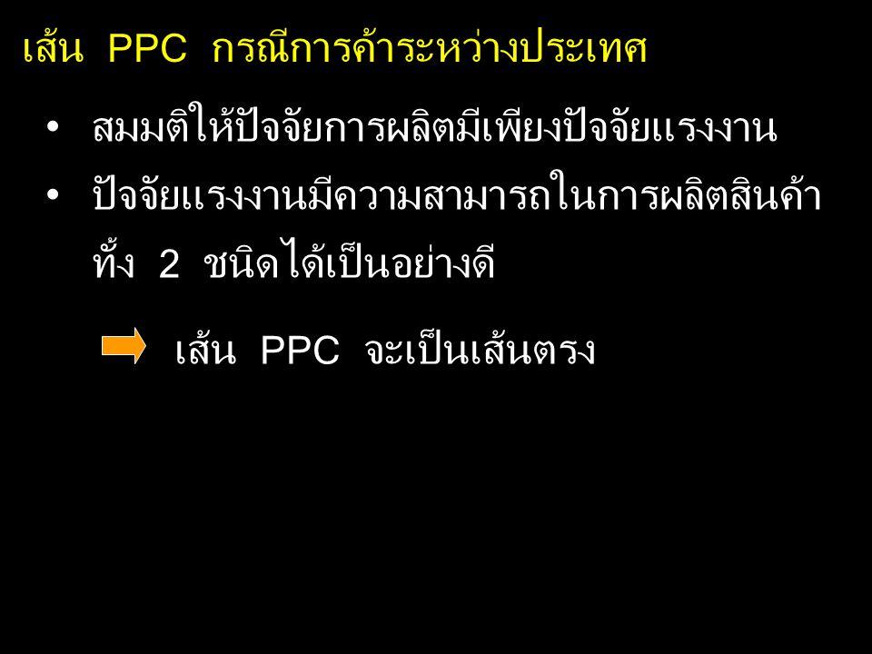 เส้น PPC กรณีการค้าระหว่างประเทศ สมมติให้ปัจจัยการผลิตมีเพียงปัจจัยแรงงาน ปัจจัยแรงงานมีความสามารถในการผลิตสินค้า ทั้ง 2 ชนิดได้เป็นอย่างดี เส้น PPC จะเป็นเส้นตรง