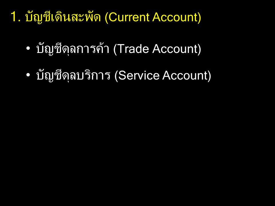 1. บัญชีเดินสะพัด (Current Account) บัญชีดุลการค้า (Trade Account) บัญชีดุลบริการ (Service Account)