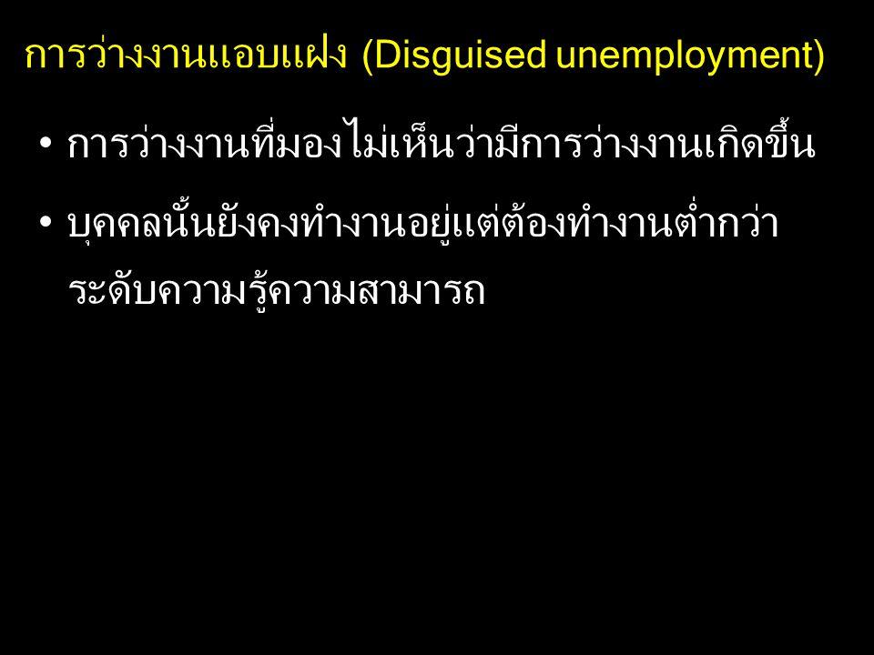 การว่างงานแอบแฝง (Disguised unemployment) การว่างงานที่มองไม่เห็นว่ามีการว่างงานเกิดขึ้น บุคคลนั้นยังคงทำงานอยู่แต่ต้องทำงานต่ำกว่า ระดับความรู้ความสา