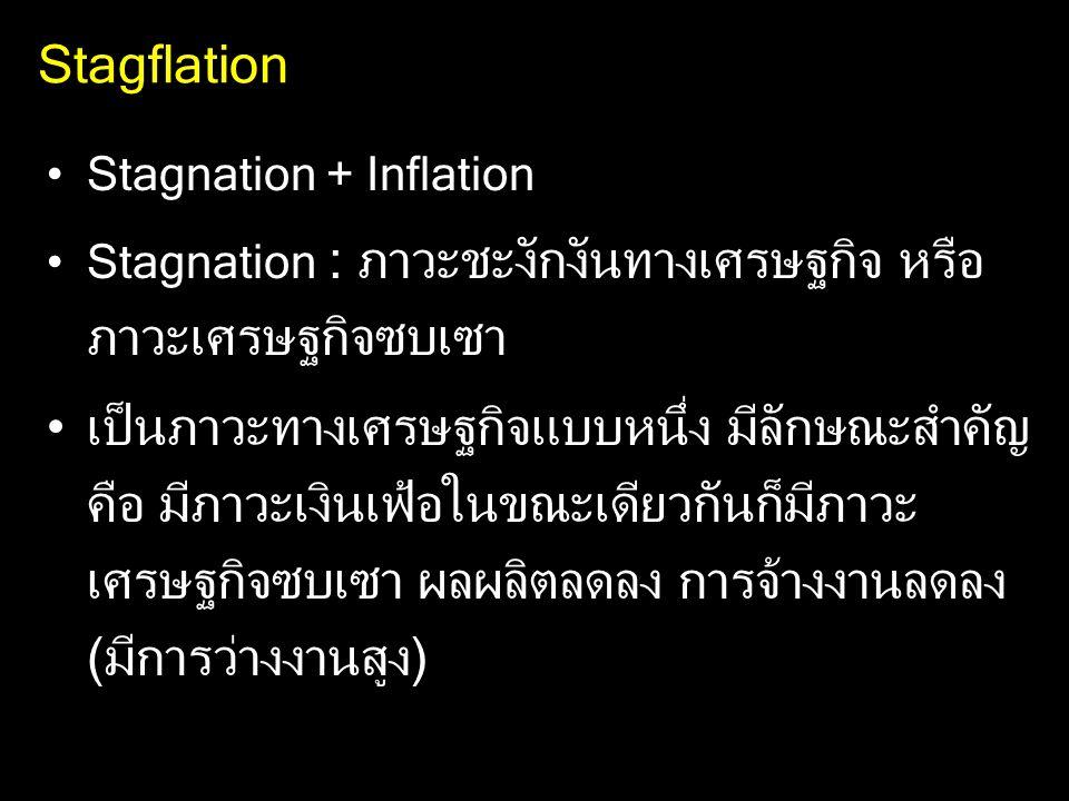 Stagflation Stagnation + Inflation Stagnation : ภาวะชะงักงันทางเศรษฐกิจ หรือ ภาวะเศรษฐกิจซบเซา เป็นภาวะทางเศรษฐกิจแบบหนึ่ง มีลักษณะสำคัญ คือ มีภาวะเงินเฟ้อในขณะเดียวกันก็มีภาวะ เศรษฐกิจซบเซา ผลผลิตลดลง การจ้างงานลดลง (มีการว่างงานสูง)
