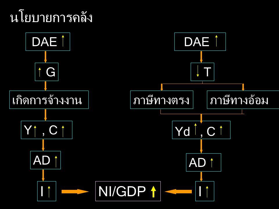 นโยบายการคลัง DAE G เกิดการจ้างงาน Y, C AD INI/GDP DAE T ภาษีทางตรงภาษีทางอ้อม Yd, C AD I
