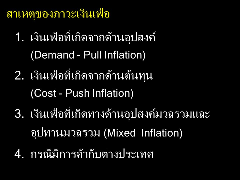 Wage - Push Inflation (ต่อ) ถ้ามีการปรับค่าจ้างแรงงานขั้นต่ำเพิ่มขึ้น ในขณะที่ประสิทธิภาพของแรงงานคงเดิม อุปสงค์ต่อแรงงานคงเดิม ต้นทุนเพิ่มขึ้น ลดปริมาณการผลิต ลดการจ้างงาน ไม่ลดการจ้างงาน แต่ปรับราคาเพิ่มขึ้น P เพิ่มขึ้น