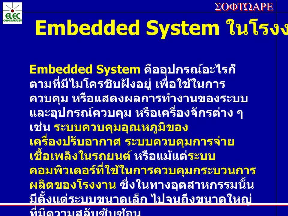 SOFTWARE Embedded System ในโรงงานอุตสาหกรรม Embedded System คืออุปกรณ์อะไรก็ ตามที่มีไมโครชิบฝังอยู่ เพื่อใช้ในการ ควบคุม หรือแสดงผลการทำงานของระบบ แล