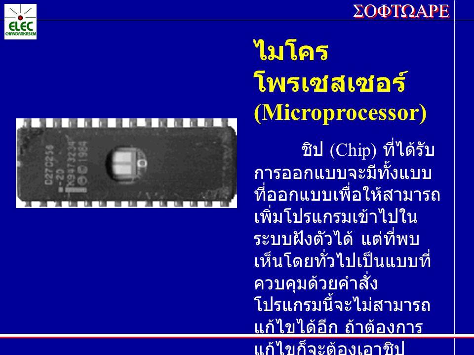 ไมโคร โพรเซสเซอร์ (Microprocessor) ชิป (Chip) ที่ได้รับ การออกแบบจะมีทั้งแบบ ที่ออกแบบเพื่อให้สามารถ เพิ่มโปรแกรมเข้าไปใน ระบบฝังตัวได้ แต่ที่พบ เห็นโ