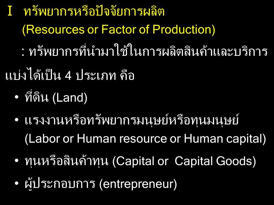 I ทรัพยากรหรือปัจจัยการผลิต (Resources or Factor of Production) : ทรัพยากรที่นำมาใช้ในการผลิตสินค้าและบริการ แบ่งได้เป็น 4 ประเภท คือ ที่ดิน (Land) แร
