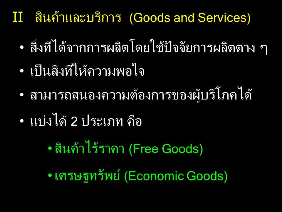 II สินค้าและบริการ (Goods and Services) สิ่งที่ได้จากการผลิตโดยใช้ปัจจัยการผลิตต่าง ๆ เป็นสิ่งที่ให้ความพอใจ สามารถสนองความต้องการของผู้บริโภคได้ แบ่ง