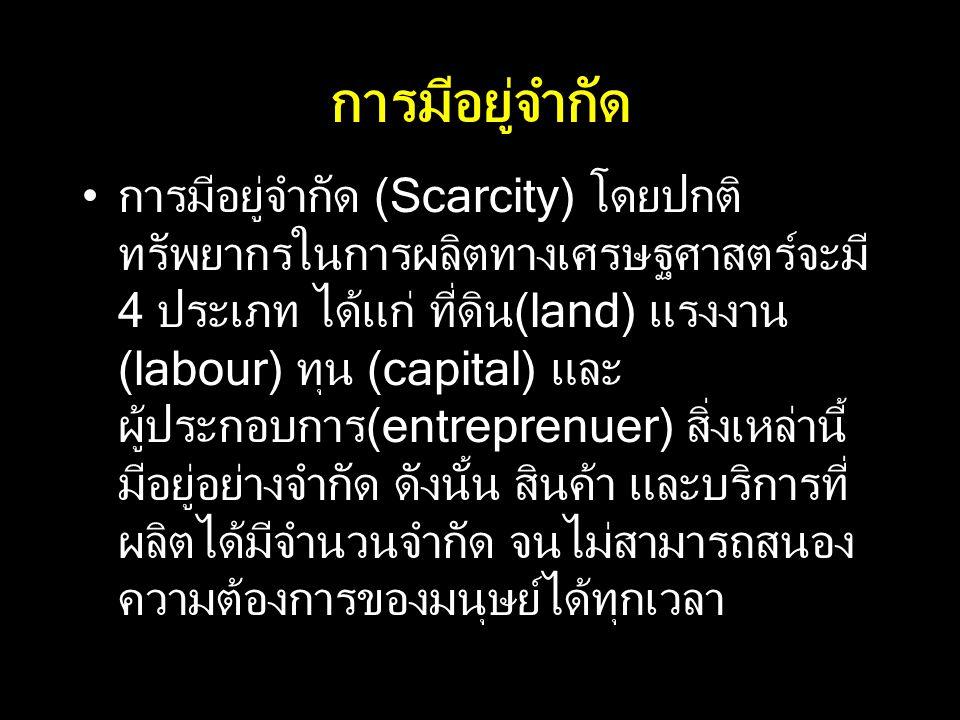 การมีอยู่จำกัด การมีอยู่จำกัด (Scarcity) โดยปกติ ทรัพยากรในการผลิตทางเศรษฐศาสตร์จะมี 4 ประเภท ได้แก่ ที่ดิน(land) แรงงาน (labour) ทุน (capital) และ ผู