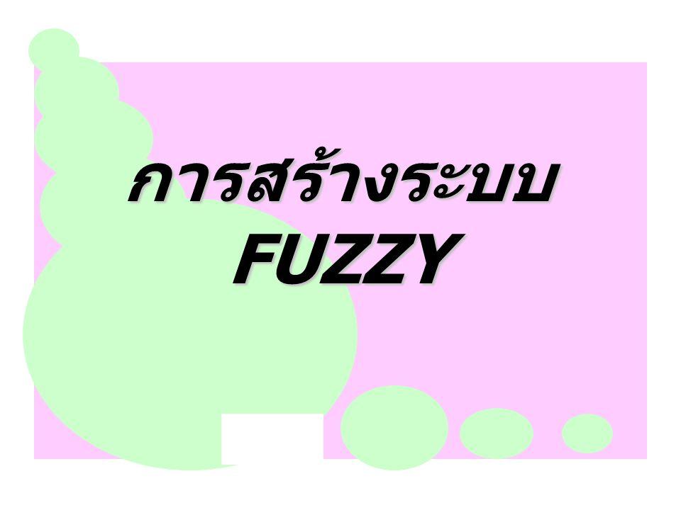 การสร้างระบบ FUZZY การสรางระบบฟซซีโดยผูเชี่ยวชาญ โดยทั่วไปแลวผูเชี่ยวชาญในปญหานั้น ๆ จะเปนผูที่สามารถชวยนักเขียนโปรแกรมในการ กําหนดโครงสรางของระบบ เชน จํานวนตัวแปร พจนภาษาของแตละตัวแปร รูปรางหรือชนิด ของฟงกชันสมาชิกของพจนภาษา พารามิเตอร ของฟงกชันสมาชิก จํานวนพจนภาษาของแต ละตัวแปร จํานวนกฎในฐาน และกฎ IF-THEN