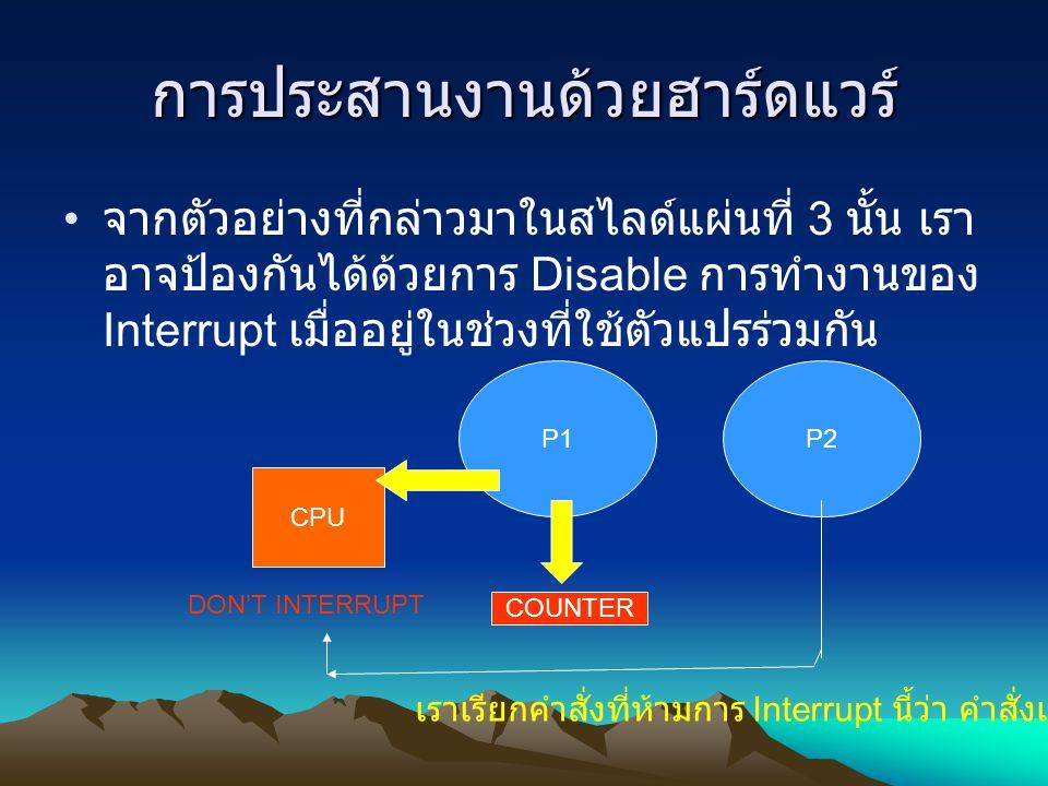 การประสานงานด้วยฮาร์ดแวร์ จากตัวอย่างที่กล่าวมาในสไลด์แผ่นที่ 3 นั้น เรา อาจป้องกันได้ด้วยการ Disable การทำงานของ Interrupt เมื่ออยู่ในช่วงที่ใช้ตัวแป