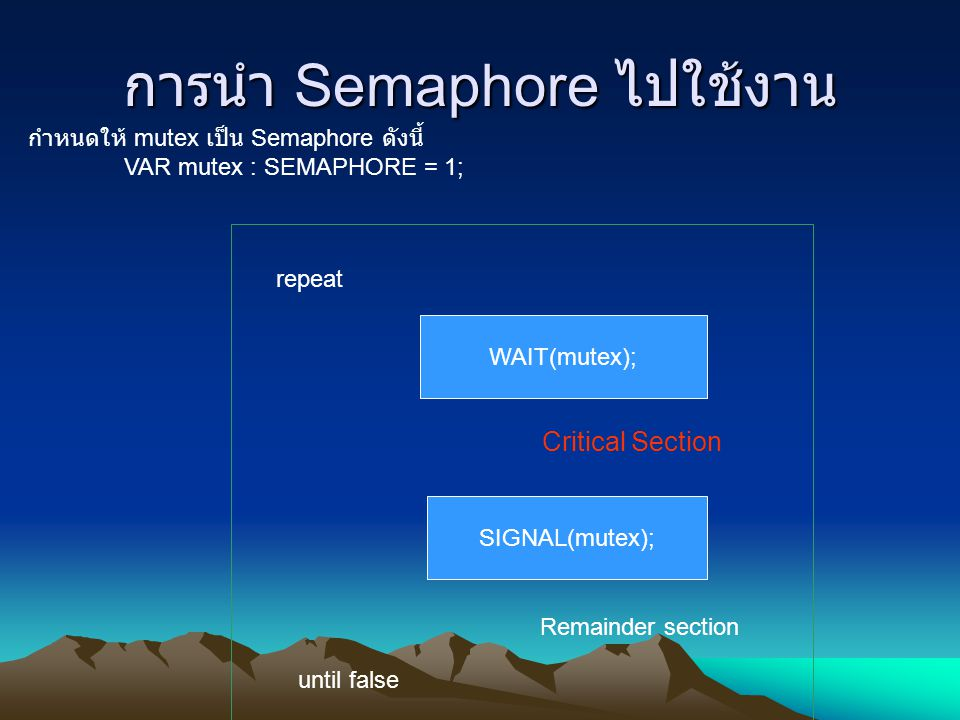 การนำ Semaphore ไปใช้งาน กำหนดให้ mutex เป็น Semaphore ดังนี้ VAR mutex : SEMAPHORE = 1; repeat WAIT(mutex); Critical Section SIGNAL(mutex); Remainder section until false