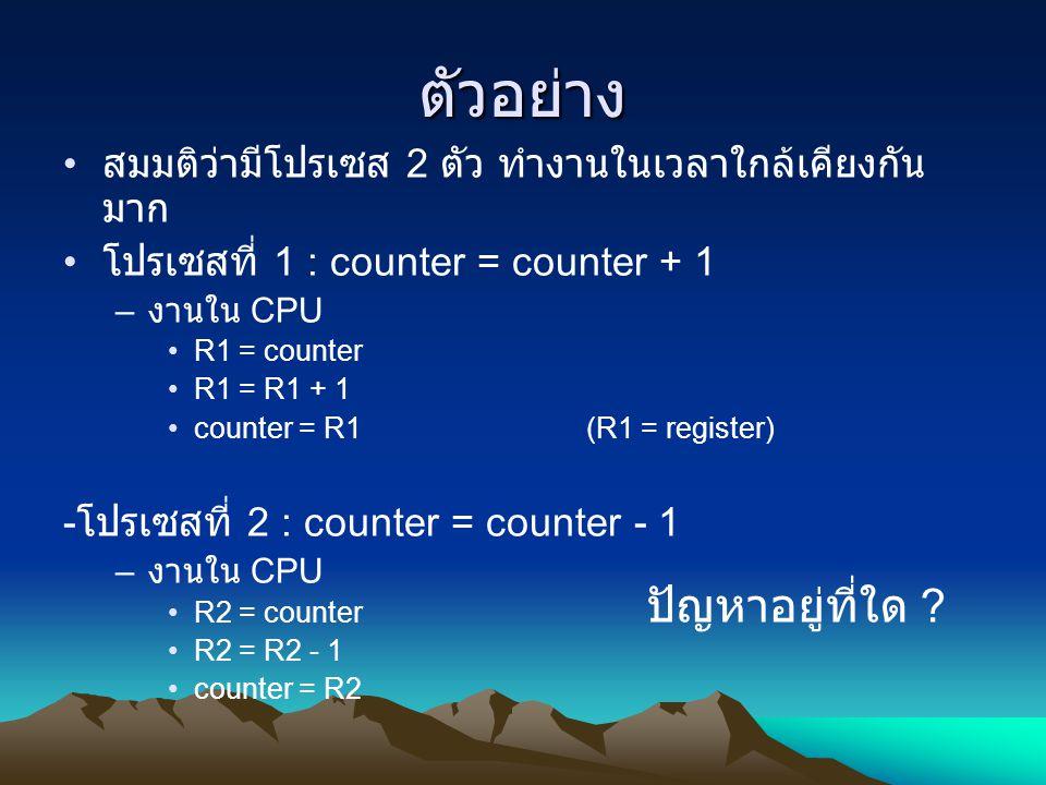 ตัวอย่าง สมมติว่ามีโปรเซส 2 ตัว ทำงานในเวลาใกล้เคียงกัน มาก โปรเซสที่ 1 : counter = counter + 1 – งานใน CPU R1 = counter R1 = R1 + 1 counter = R1(R1 =
