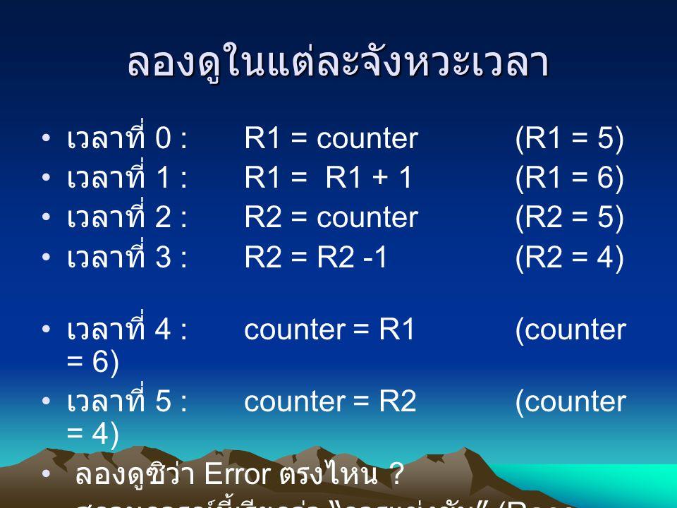 ลองดูในแต่ละจังหวะเวลา เวลาที่ 0 : R1 = counter (R1 = 5) เวลาที่ 1 : R1 = R1 + 1(R1 = 6) เวลาที่ 2 : R2 = counter (R2 = 5) เวลาที่ 3 : R2 = R2 -1 (R2