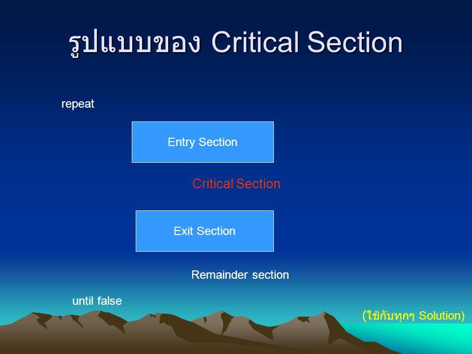 Solution ที่ 1 : การแก้ปัญหา 2 โปรเซส ใน Solution นี้จะใช้กับ Race Condition ระหว่างโปรเซส 2 ตัว มีรูปแบบดังนี้ repeat while turn ≠ i do no-op; Critical Section turn := j Remainder section until false กำหนดให้มีโปรเซส P i และ P j turn คือตัวแปร ** โค๊ดของ Pi