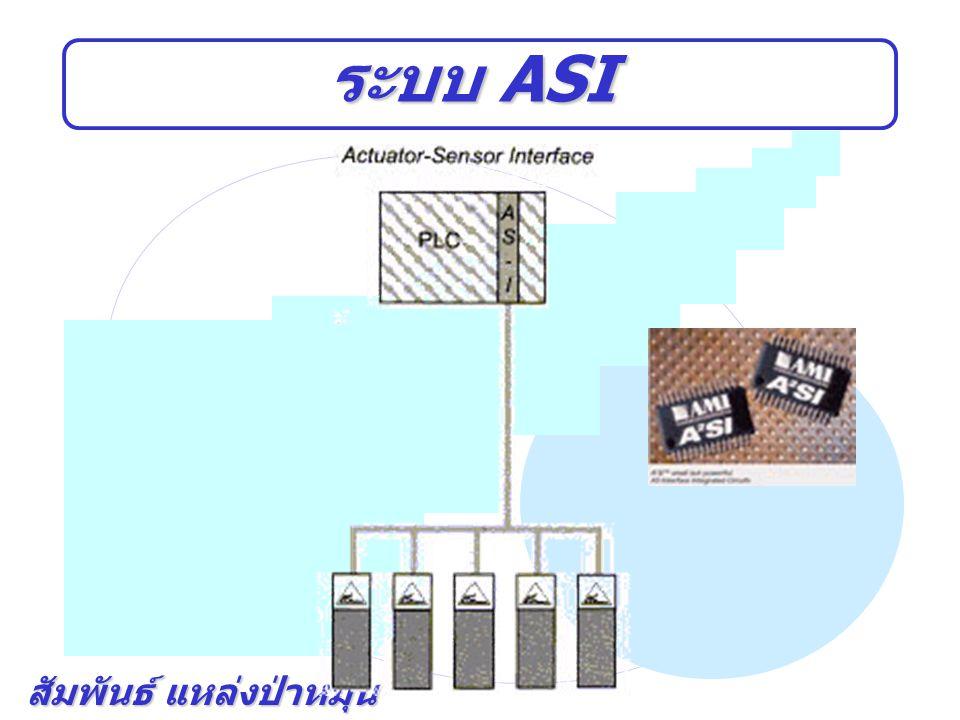 สัมพันธ์ แหล่งป่าหมุ้น หัวใจสำคัญของ ASI หัวใจสำคัญของระบบ ASI ก็คือ Slave-chip (ASIC : Application Specific Integrated Circuit) ที่จะทำ หน้าที่เป็นตัวกลางเพื่อติดต่อสื่อสารระหว่าง Actuator / Sensor กับ Controller เปรียบเสมือนกับว่า slave-chip เป็นป้าย บ้านเลขที่เพื่อให้ controller ติดต่อ Actuator / Sensor ได้ถูกต้อง ซึ่ง salve- chip จะมี 2 แบบ 1) External ASI slave-chip slave - chip 2) Integrated ASI slave – chip, slave – chip