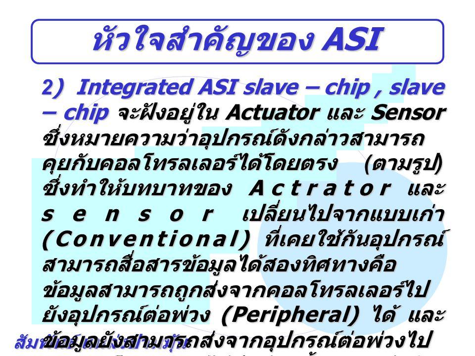 สัมพันธ์ แหล่งป่าหมุ้น หัวใจสำคัญของ ASI 2) Integrated ASI slave – chip, slave – chip จะฝังอยู่ใน Actuator และ Sensor ซึ่งหมายความว่าอุปกรณ์ดังกล่าวสา