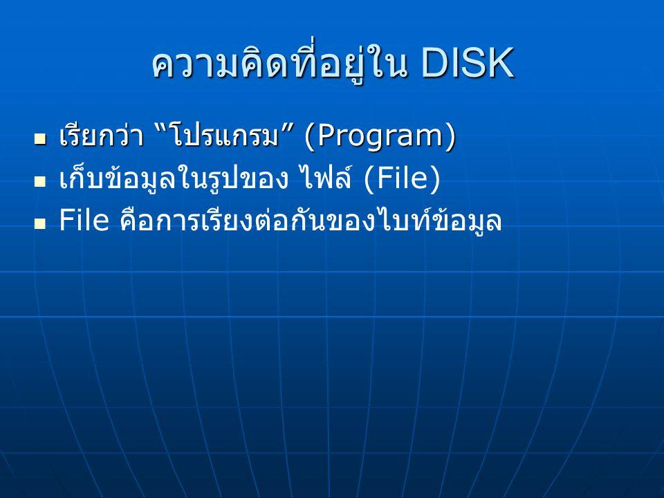 ความคิดที่อยู่ใน DISK เรียกว่า โปรแกรม (Program)  เรียกว่า โปรแกรม (Program)  เก็บข้อมูลในรูปของ ไฟล์ (File)  File คือการเรียงต่อกันของไบท์ข้อมูล