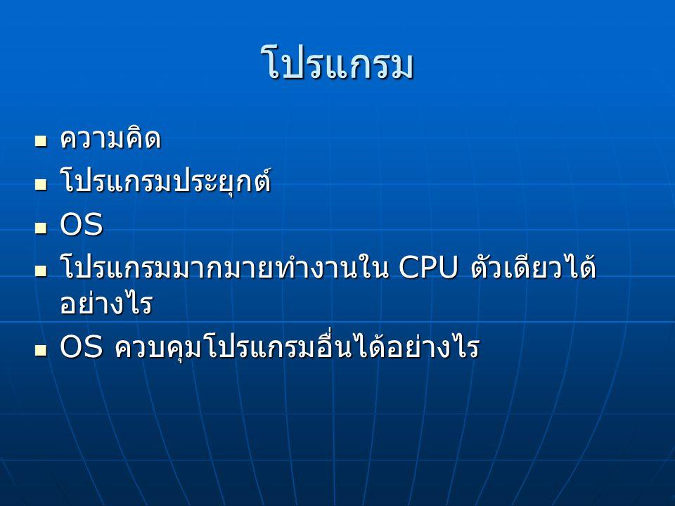 โปรแกรม ความคิด ความคิด โปรแกรมประยุกต์ โปรแกรมประยุกต์ OS OS โปรแกรมมากมายทำงานใน CPU ตัวเดียวได้ อย่างไร โปรแกรมมากมายทำงานใน CPU ตัวเดียวได้ อย่างไร OS ควบคุมโปรแกรมอื่นได้อย่างไร OS ควบคุมโปรแกรมอื่นได้อย่างไร