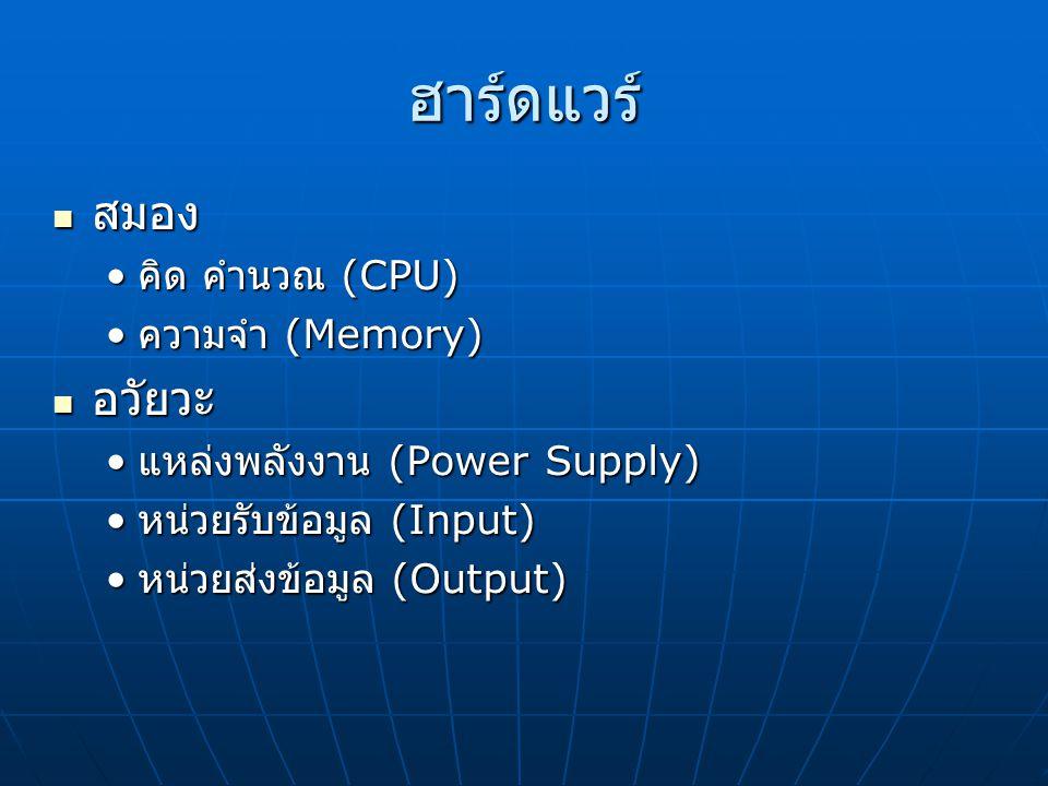 ฮาร์ดแวร์ สมอง สมอง คิด คำนวณ (CPU)  คิด คำนวณ (CPU)  ความจำ (Memory)  ความจำ (Memory)  อวัยวะ อวัยวะ แหล่งพลังงาน (Power Supply)  แหล่งพลังงาน (Power Supply)  หน่วยรับข้อมูล (Input)  หน่วยรับข้อมูล (Input)  หน่วยส่งข้อมูล (Output)  หน่วยส่งข้อมูล (Output) 