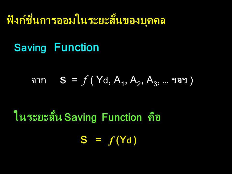 ฟังก์ชั่นการออมของบุคคล ฟังก์ชั่นการออม S = f ( Y d, A 1, A 2, A 3, … ฯลฯ ) S คือ การออม Y d คือ รายได้สุทธิ หรือ รายได้ที่ใช้จ่ายได้จริง (DI) A 1, A