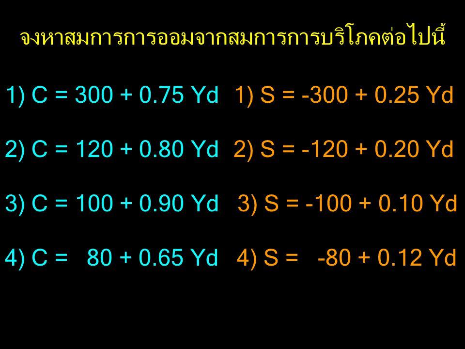 1) C = 300 + 0.75 Yd 2) C = 120 + 0.80 Yd 3) C = 100 + 0.90 Yd 4) C = 80 + 0.65 Yd จงหาสมการการออมจากสมการการบริโภคต่อไปนี้ 1) S = -300 + 0.25 Yd 2) S = -120 + 0.20 Yd 3) S = -100 + 0.10 Yd 4) S = -80 + 0.12 Yd