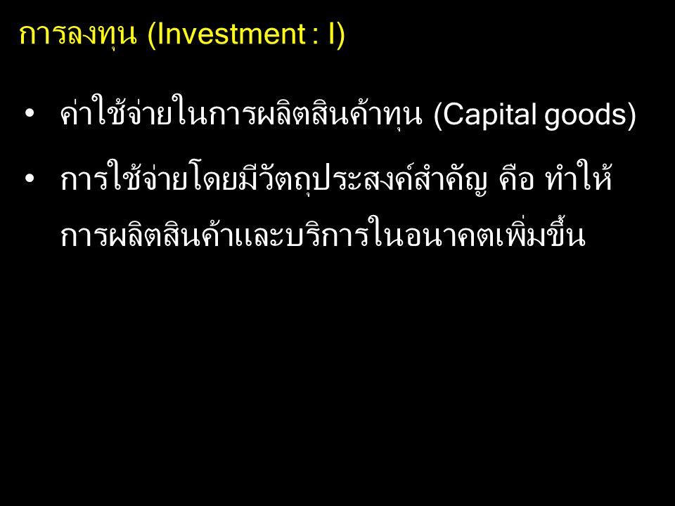 การลงทุน (Investment : I) ค่าใช้จ่ายในการผลิตสินค้าทุน (Capital goods) การใช้จ่ายโดยมีวัตถุประสงค์สำคัญ คือ ทำให้ การผลิตสินค้าและบริการในอนาคตเพิ่มขึ้น
