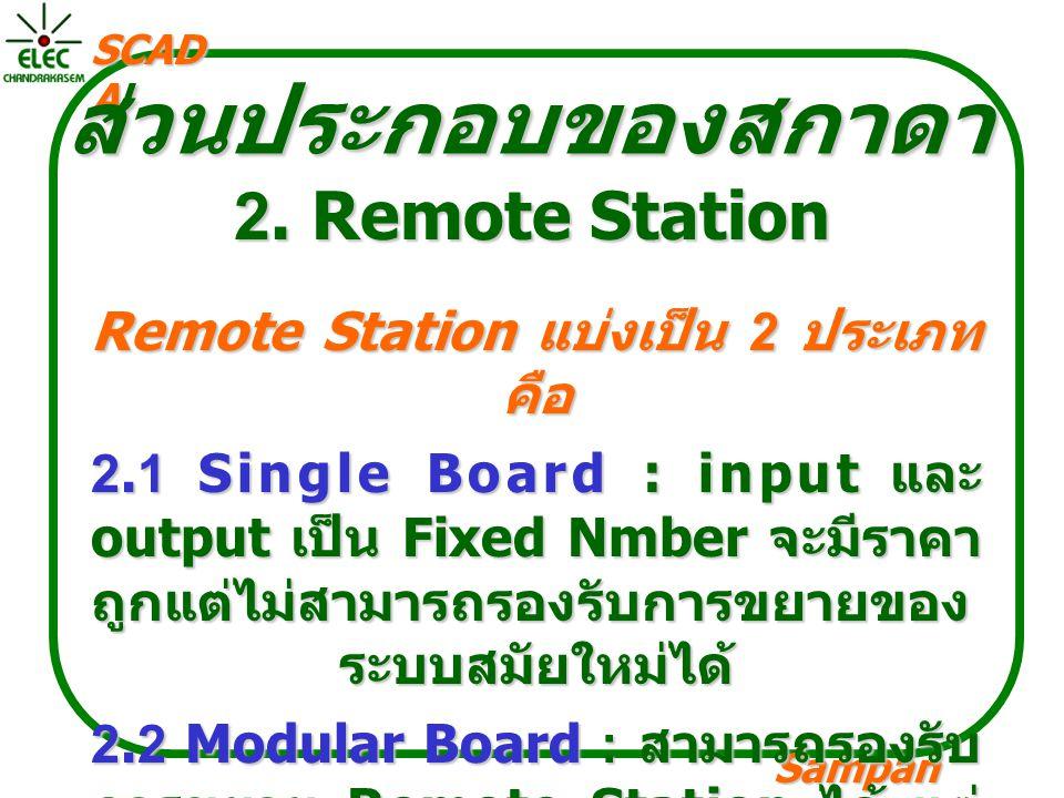 Sampan langpamun SCAD A ส่วนประกอบของสกาดา 2. Remote Station Remote Station แบ่งเป็น 2 ประเภท คือ 2.1 Single Board : input และ output เป็น Fixed Nmber
