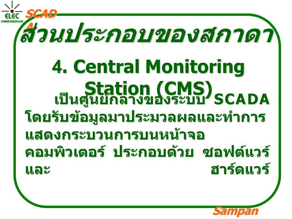 Sampan langpamun SCAD A ส่วนประกอบของสกาดา 4. Central Monitoring Station (CMS) เป็นศูนย์กลางของระบบ SCADA โดยรับข้อมูลมาประมวลผลและทำการ แสดงกระบวนการ