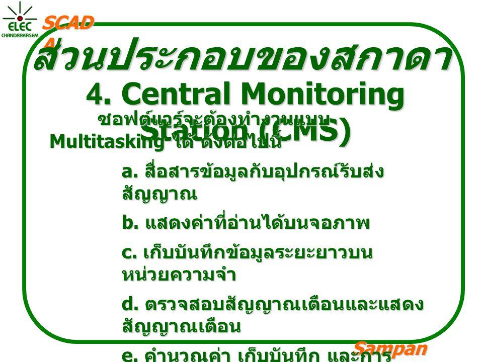 Sampan langpamun SCAD A ส่วนประกอบของสกาดา 4. Central Monitoring Station (CMS) ซอฟต์แวร์จะต้องทำงานแบบ Multitasking ได้ ดังต่อไปนี้ a. สื่อสารข้อมูลกั