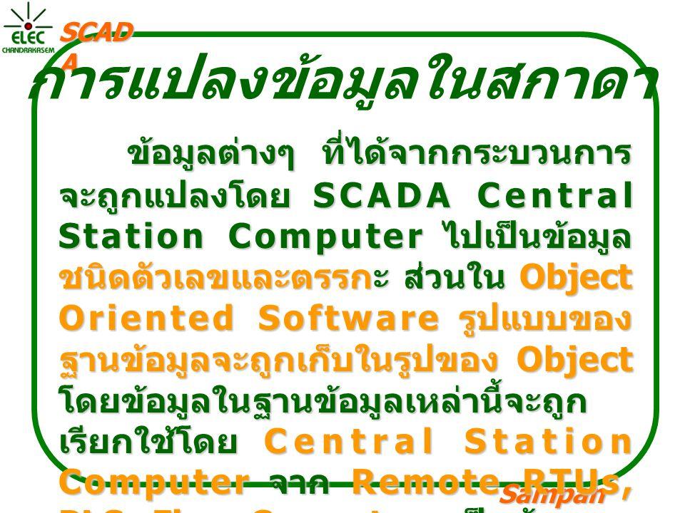 Sampan langpamun SCAD A การแปลงข้อมูลในสกาดา ข้อมูลต่างๆ ที่ได้จากกระบวนการ จะถูกแปลงโดย SCADA Central Station Computer ไปเป็นข้อมูล ชนิดตัวเลขและตรรกะ ส่วนใน Object Oriented Software รูปแบบของ ฐานข้อมูลจะถูกเก็บในรูปของ Object โดยข้อมูลในฐานข้อมูลเหล่านี้จะถูก เรียกใช้โดย Central Station Computer จาก Remote RTUs, PLCs,Flow Computers เป็นต้น และ ข้อมูลจะถูกส่งผ่านสัญญาณวิทยุ, สายเคเบิ้ล, Fiber Optic Cable, By Dialing, By Satellite Communication
