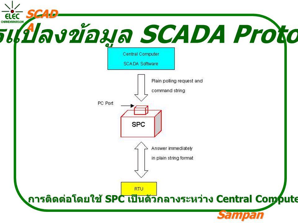 Sampan langpamun SCAD A การแปลงข้อมูล SCADA Protocal การติดต่อโดยใช้ SPC เป็นตัวกลางระหว่าง Central Computer SCADA Software และ RTU