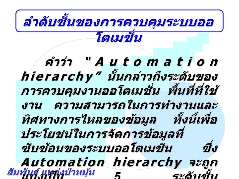 """สัมพันธ์ แหล่งป่าหมุ้น ลำดับชั้นของการควบคุมระบบออ โตเมชั่น คำว่า """"Automation hierarchy"""" นั้นกล่าวถึงระดับของ การควบคุมงานออโตเมชั่น พื้นที่ที่ใช้ งาน"""