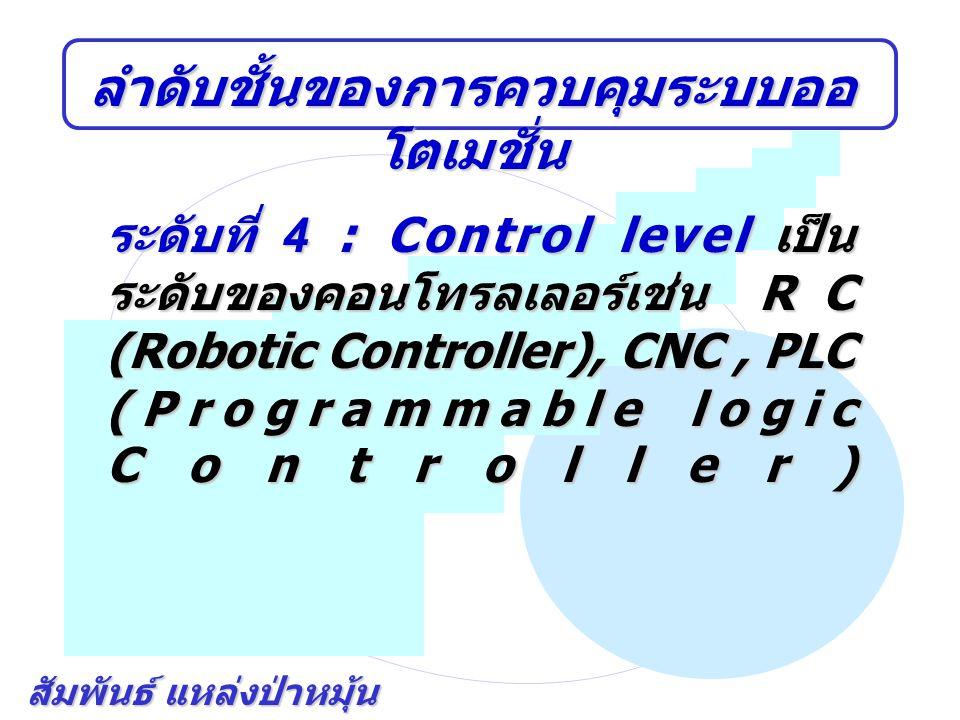 สัมพันธ์ แหล่งป่าหมุ้น ลำดับชั้นของการควบคุมระบบออ โตเมชั่น ระดับที่ 4 : Control level เป็น ระดับของคอนโทรลเลอร์เช่น RC (Robotic Controller), CNC, PLC