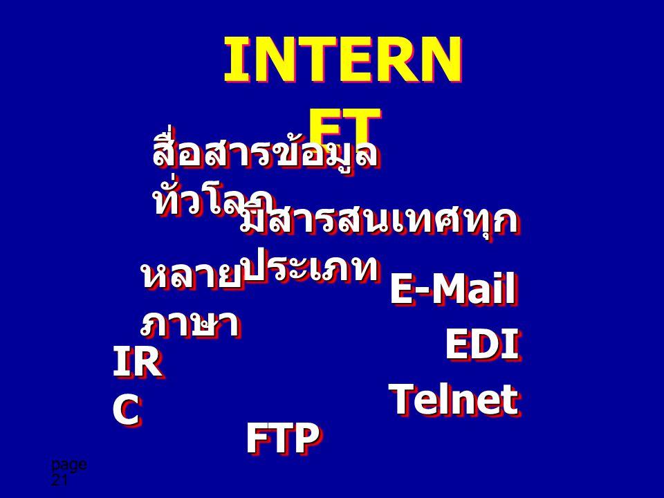 page 21 INTERN ET สื่อสารข้อมูล ทั่วโลก มีสารสนเทศทุก ประเภท หลาย ภาษา E-MailE-Mail IR C TelnetTelnet FTPFTP EDIEDI