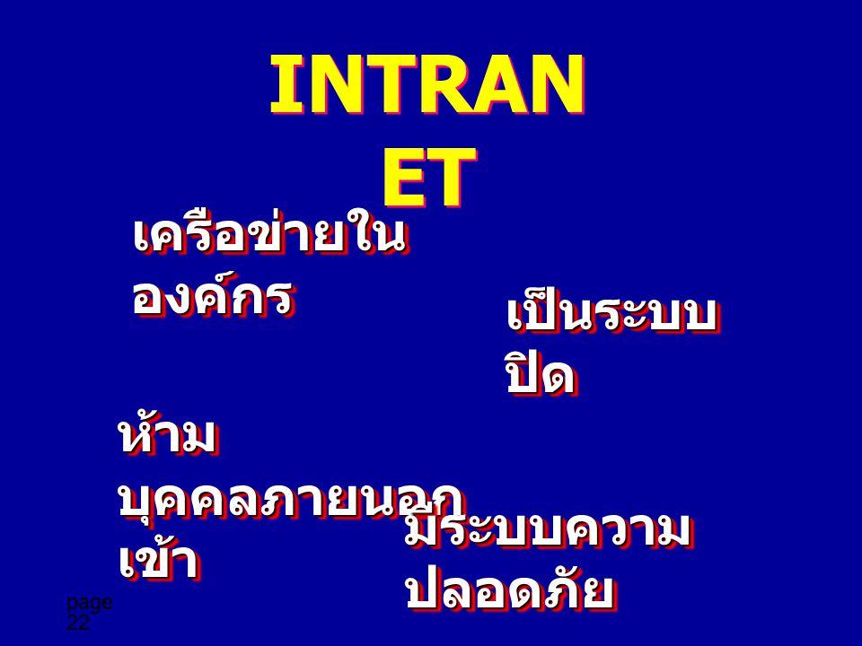 page 22 INTRAN ET เครือข่ายใน องค์กร เป็นระบบ ปิด ห้าม บุคคลภายนอก เข้า มีระบบความ ปลอดภัย