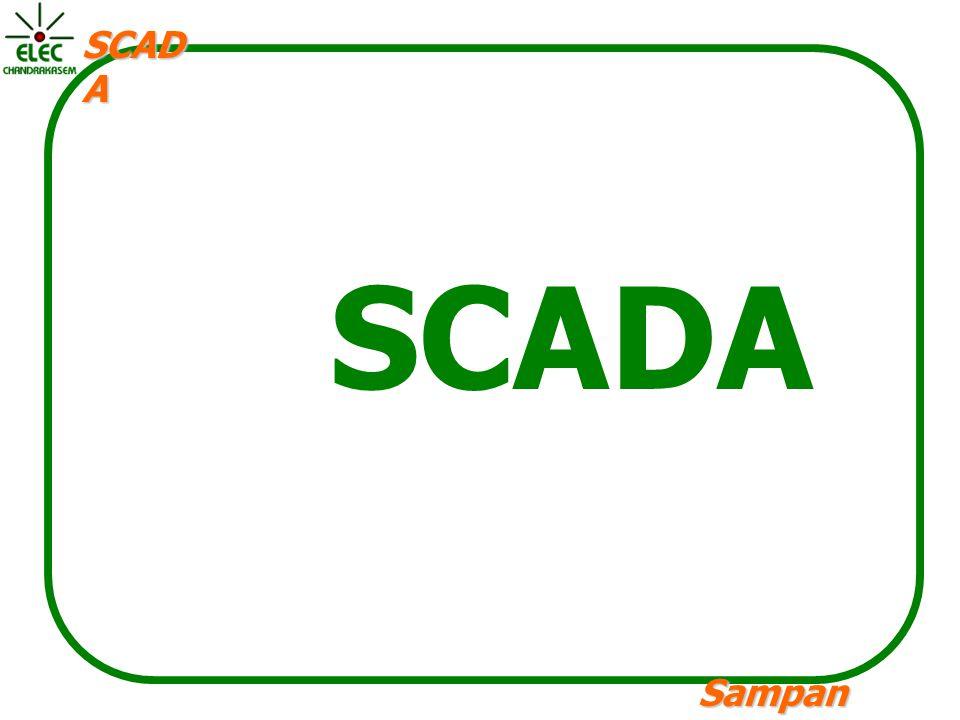 Sampan langpamun SCAD A SCADA Supervisory Control and Data Acquisition คือระบบเครื่องมืออัตโนมัติสำหรับ ตรวจสอบเก็บรวบรวมข้อมูลและบริหารระบบ ควบคุมของกระบวนการผลิตภายในโรงงาน อุตสาหกรรม สกาดาประกอบด้วยส่วนประกอบ หลักคือ 1.