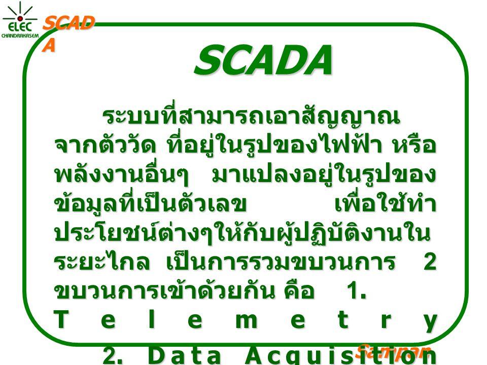 Sampan langpamun SCAD A Telemetry System เป็นเทคนิคที่ใช้ในการส่งและ รับข้อมูลผ่านสื่อกลาง โดยข้อมูลนั้น สามารถวัดได้ เช่น โวลต์ ความเร็ว หรือ อัตราการไหล ซึ่งข้อมูลเหล่านี้ จะถูกส่งไปอีกสถานที่หนึ่งโดยผ่าน สื่อกลางต่างๆ เช่น เคเบิล สายดทร ศัพท์ หรือ คลื่นวิทยุ ข้อมูลจาก หลายๆ สถานที่ จะถูกนำมารวมกัน ใน ระบบ SCADA