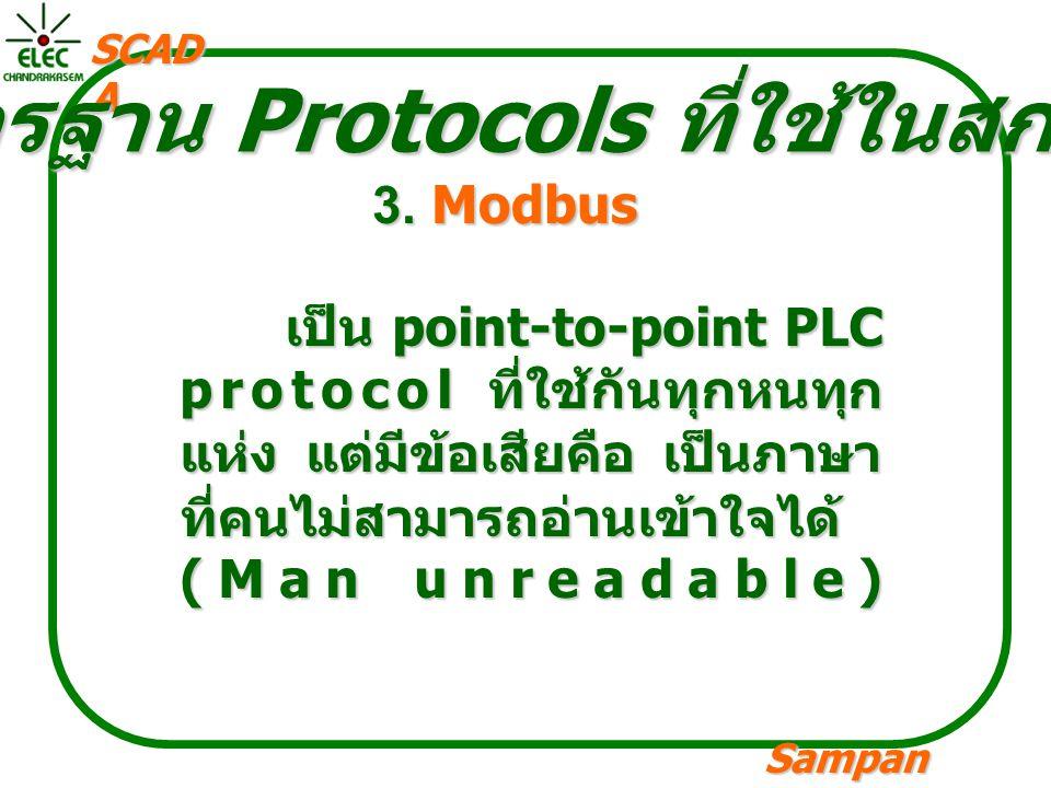 Sampan langpamun SCAD A มาตรฐาน Protocols ที่ใช้ในสกาดา 3. Modbus เป็น point-to-point PLC protocol ที่ใช้กันทุกหนทุก แห่ง แต่มีข้อเสียคือ เป็นภาษา ที่