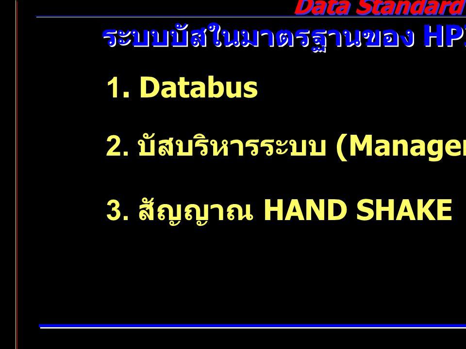 Data Standard ระบบบัสในมาตรฐานของ HPIB 1. Databus 2. บัสบริหารระบบ (Management Bus) 3. สัญญาณ HAND SHAKE