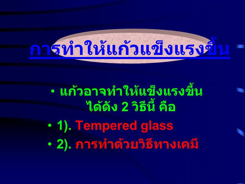 แก้วอาจทำให้แข็งแรงขึ้น ได้ดัง 2 วิธีนี้ คือ 1). Tempered glass 2). การทำด้วยวิธีทางเคมี การทำให้แก้วแข็งแรงขึ้น