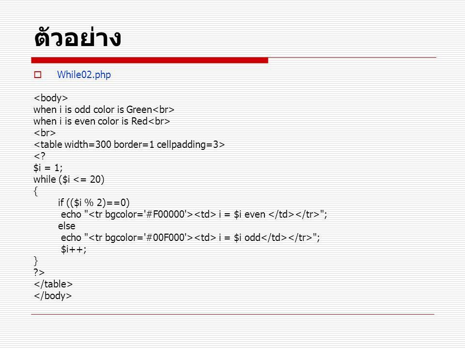 ตัวอย่าง  While02.php when i is odd color is Green when i is even color is Red <? $i = 1; while ($i <= 20) { if (($i % 2)==0) echo