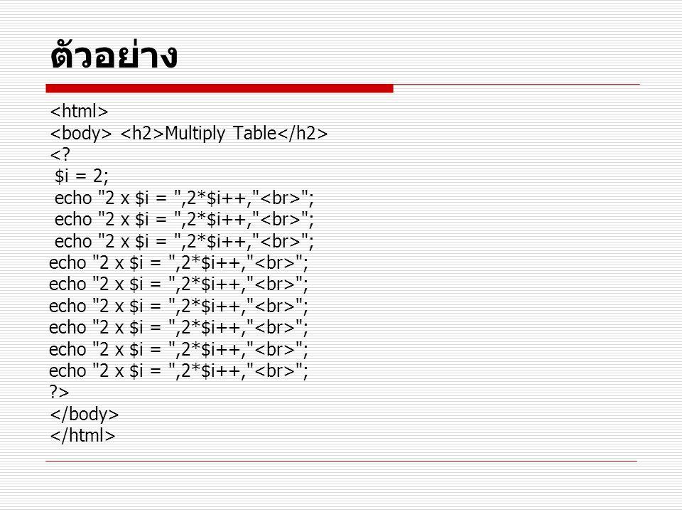 ตัวอย่าง Multiply Table <? $i = 2; echo 2 x $i = ,2*$i++, ; ?>